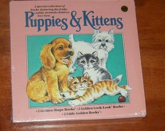 Puppies & Kittens, Set of 6 New Old Stock Golden Books in Box, NIP