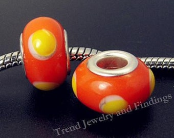 2 pc Murano Glass beads - Orange Yellow BEADS fit European style charms bracelets, Large hole, alloy silver core -EB023