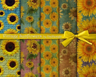 "Sunflower digital paper : ""VINTAGE SUNFLOWERS"" vintage digital paper with sunflowers for scrapbooking, cards, invites / decoupage paper"
