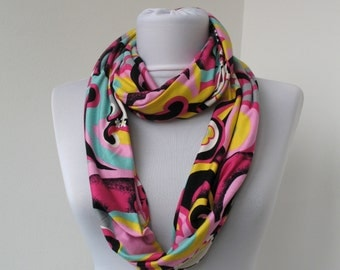 Colorful Jersey Cotton Fabric Scarf - Infinity Scarf - Loop Scarf - Circle Scarf - Scarf Necklace - 345