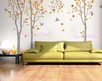 birch trees decals:wall decals, nature wall decals, vinyl wall decal, nature wall decal stickers, birch tree, nursery wall stickers-DK057