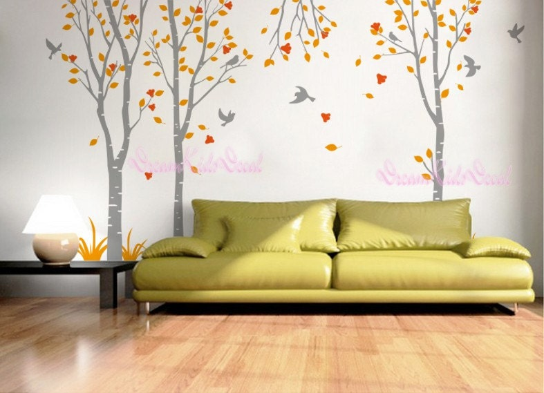 Birch trees decals wall decals nature wall decals vinyl wall - Wandtattoo natur ...
