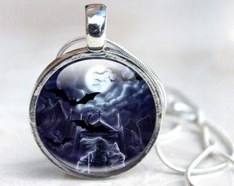 Glass Dome Necklace - Glass Dome Pendant - Glass Pendant Necklace - Fantasy Art Glass Necklace (art 6)