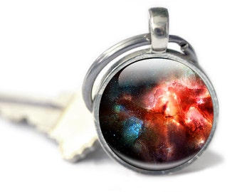 Galaxy Keychain - Glass Space Keychain - Galaxy Glass Keychain (galaxy 8)