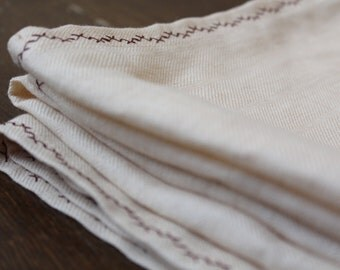 Linen Tablecloth with Dark Red Decorative Embroidery (Seam) - Made in Latvia