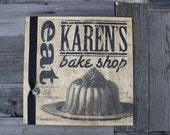 Personalized Vintage Advertising Art of CAKE--Distressed Wood Sign for Kitchen, Home or Bakery