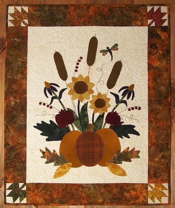 Autumn Garden Wool On Batik Applique Pattern