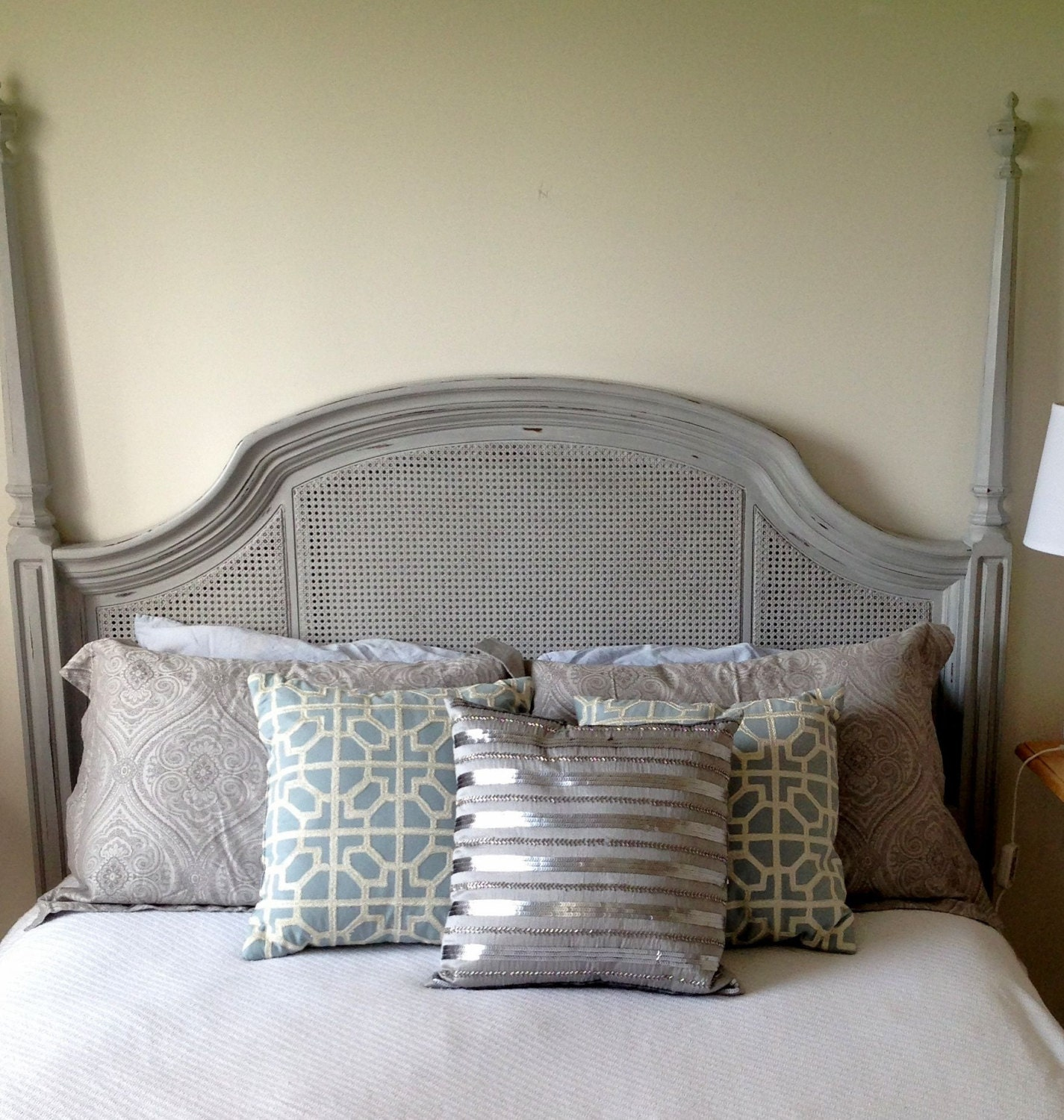 Queen cane headboard painted annie sloan distressed paris grey for Painted headboard