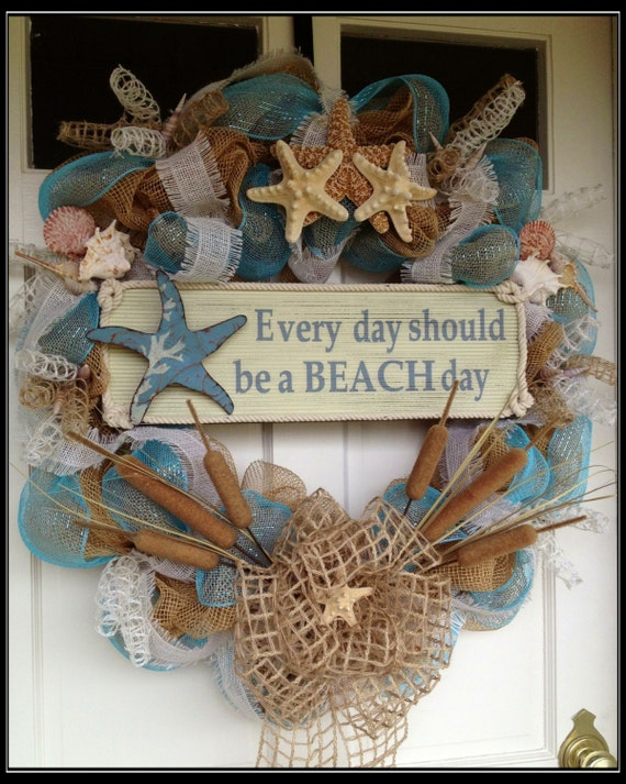 Do It Yourself Home Design: Seashell Deco Mesh And Burlap Wreath Everyday Should Be