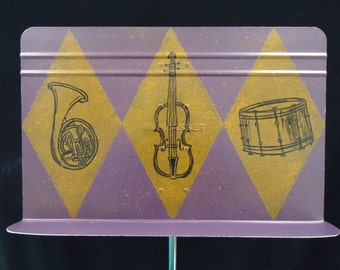 Painted Music Stand with Instruments