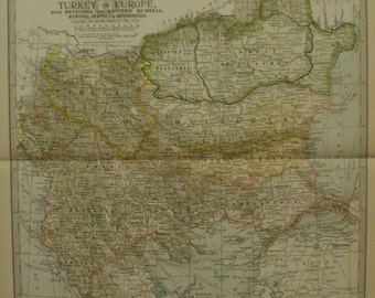 Balkan Map,Turkey Map,Turkey Europe Map,Bulgaria Servia Serbia Rumelia Balkan Peninsula Map,Atlas Map Art,Place on World Map,1902 10x15 VS14