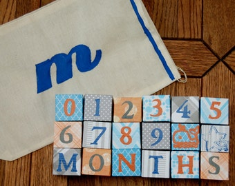 Paper Covered Monthly Baby Blocks for Photo Prop