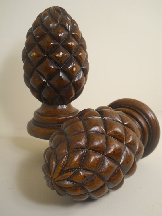 Large Reclaimed Wooden Pine Cone Finials