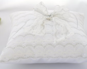 SALE !!! Wedding ring pillow / Wedding Ring Cushion White with White lace / Bridal accessory