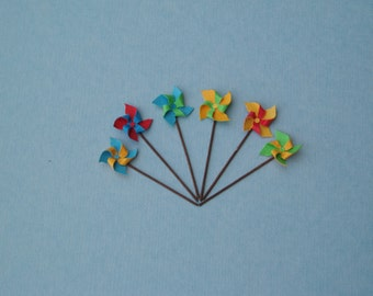 6 Toy Windmills or Pinwheels, 1:12 or 1/12 Scale Dollhouse Miniature, Bright Colours,Red, Blue, Green and Yellow, Beach, Garden or Toy Shop
