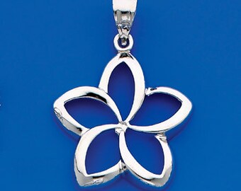 Sterling Silver coutout Plumeria Flower Charm.