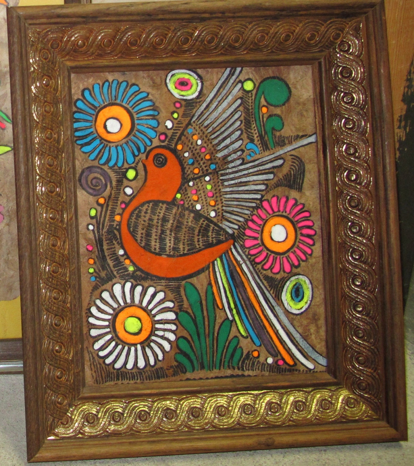 Vintage Psychadelic Retro Hippie Original Painting Bird Art on