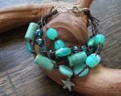 "Starfish Multi-Strand Bracelet- ""Starfish in the Seafoam"""