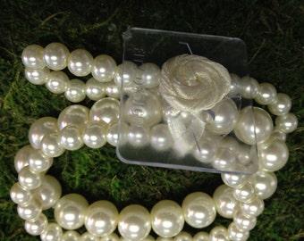 Ivory Pearl Corsage Wristlet, Corsage Bracelet, Wedding Corsage, Prom Corsage Bracelet