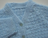 Baby Boy's Light Blue Hand Knitted Sweater V-Neck With Star-Inside Button