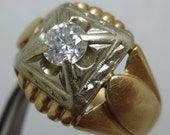 Reserved for mamierodgers1 ......1950's HANDCRAFTED DIAMOND MAN'S ring Yellow and White gold- Heavy