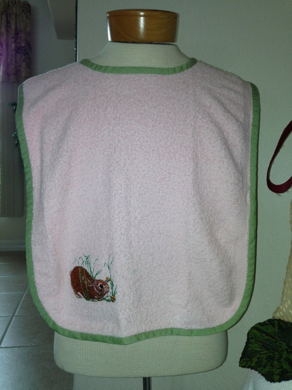 Bibs For Adults >> Large Adult Bibs Embroidered Terry Cloth & by LookieLoos on Etsy