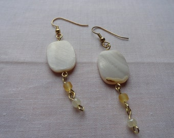 White Mother of Pearl Oval Yellow Glass Bead Earrings