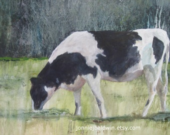 Grazin'-  Holstein Cow Digital Reproduction Print of Original Artwork by Jonnie J. Baldwin