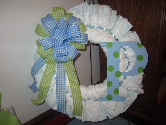 Blue Amp Lime Gingham Baby Boy Diaper Wreath With Polka Dot