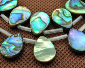 28 pcs of Abalone flat teardrop beads in 10x14mm