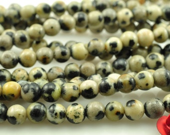 104 pcs of  Dalmatian obsidian smooth round beads in 4mm