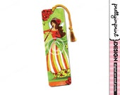 Handmade bookmark, Girl, fairy whimsical illustration bookmark with Tassle - Poppy