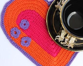 Crochet Heart Pattern, Crochet Heart Potholder Pattern, Crochet Coaster Pattern, Crochet Heart Valentines Pattern