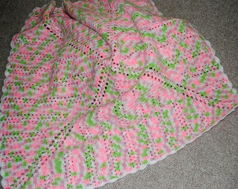 Baby Afgan Pink and Green with White Trim