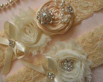 Wedding Garters / Lace Garter / Ivory / Nude Blush / Bridal Garter Set /  Bridal Garter / Toss Garter  / Vintage Inspired