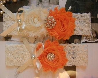 Wedding Garters / Garter / Ivory / Orange / Bridal Garter / Toss Garter / Vintage Inspired / Garter Set