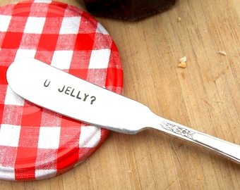U Jelly Knife - Hand Stamped Vintage Silverware, gift under 20, gift for her, personalized silverware
