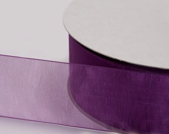 "Plum Organza Ribbon, Organza Sheer Ribbon, Widths Available: 1 1/2"", 1"", 6/8"", 5/8"", 3/8"", 1/4"", 1/8"""