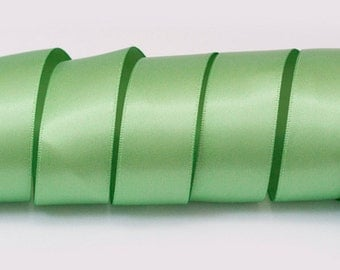 "Sage Green Ribbon, Double Faced Satin Ribbon, Widths Available: 1 1/2"", 1"", 6/8"", 5/8"", 3/8"", 1/4"", 1/8"""
