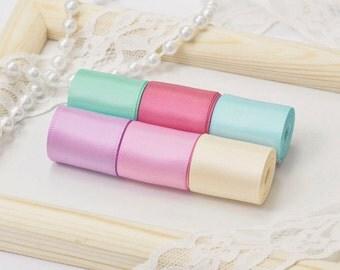 "Fairy Tale Pastel Theme Ribbon Set, 6 PCS Double Faced Satin Ribbons, Widths Available: 1 1/2"", 1"", 6/8"", 5/8"", 3/8"", 1/4"", 1/8"""