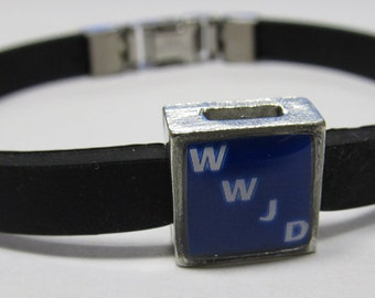 Religious WWJD - What Would Jesus Do Link With Choice Of Colored Band Charm Bracelet