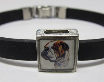 Cute Bulldog Link With Choice Of Colored Band Charm Bracelet