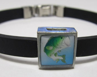 Fishing Jumping Bass Link With Choice Of Colored Band Charm Bracelet
