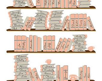 Library Wedding, Guest Book Print, Wedding Guest Book Alternative, Anniversary Gift, Wedding Gift, Bridal Gift, Bookshelf Guestbook, POSTER