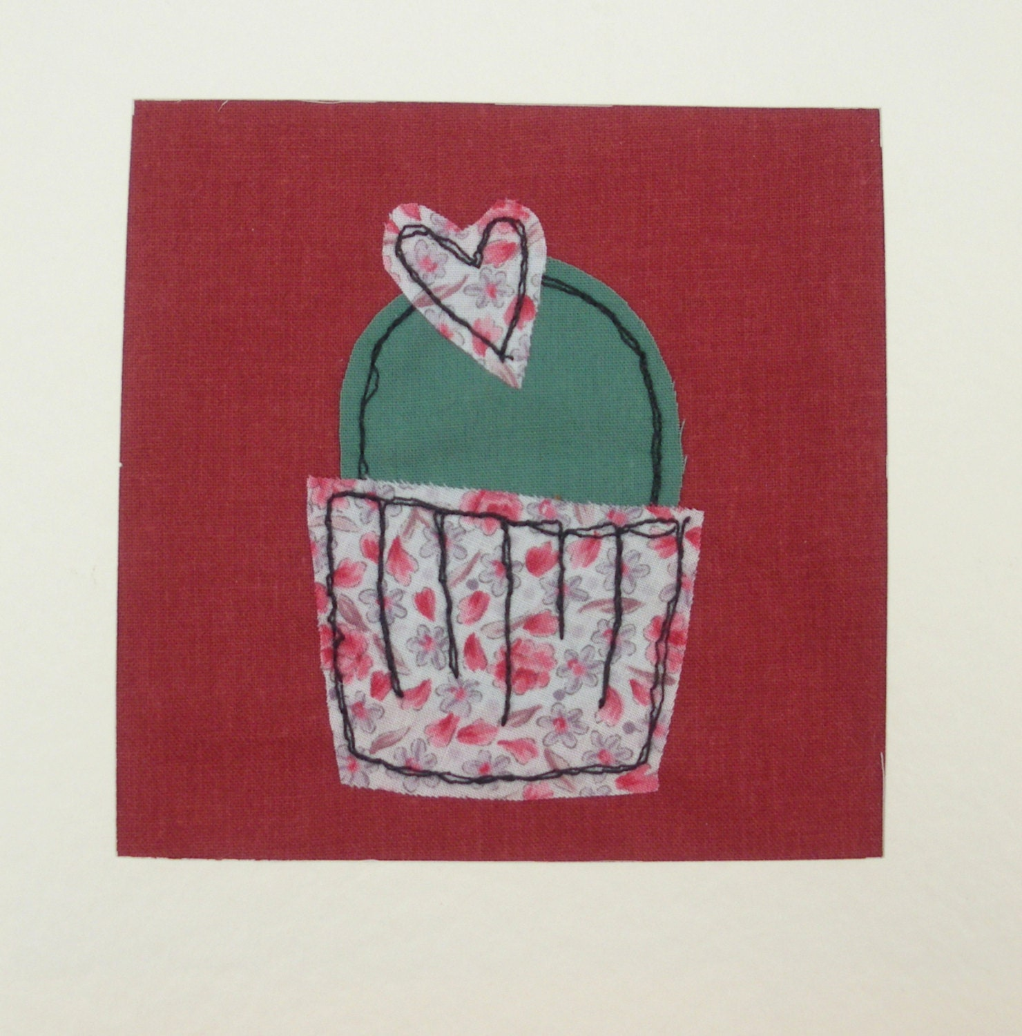 Stitched card greeting machine embroidered by