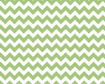 Riley Blake Small Green Color Chevron Fabric- 1 yard