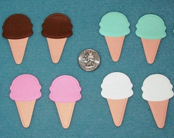 Scrapbook Ice Cream Cones, Die Cut and Embossed, Small, Set of 12