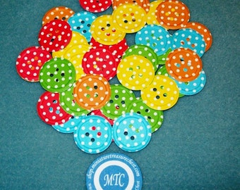 Scrapbook Die Cut Embossed Buttons, Polka Dot, Assorted Colors, 50 Piece Set
