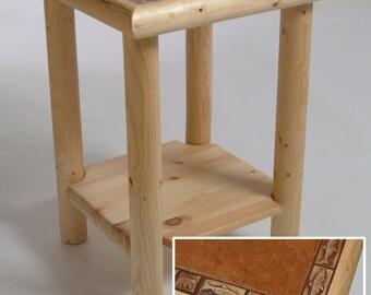 Log furniture Rustic Snow Creek Tile End Table