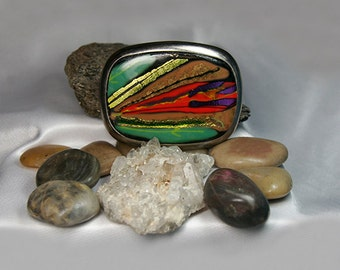 A Beautiful Dichroic Fused Glass Belt Buckle